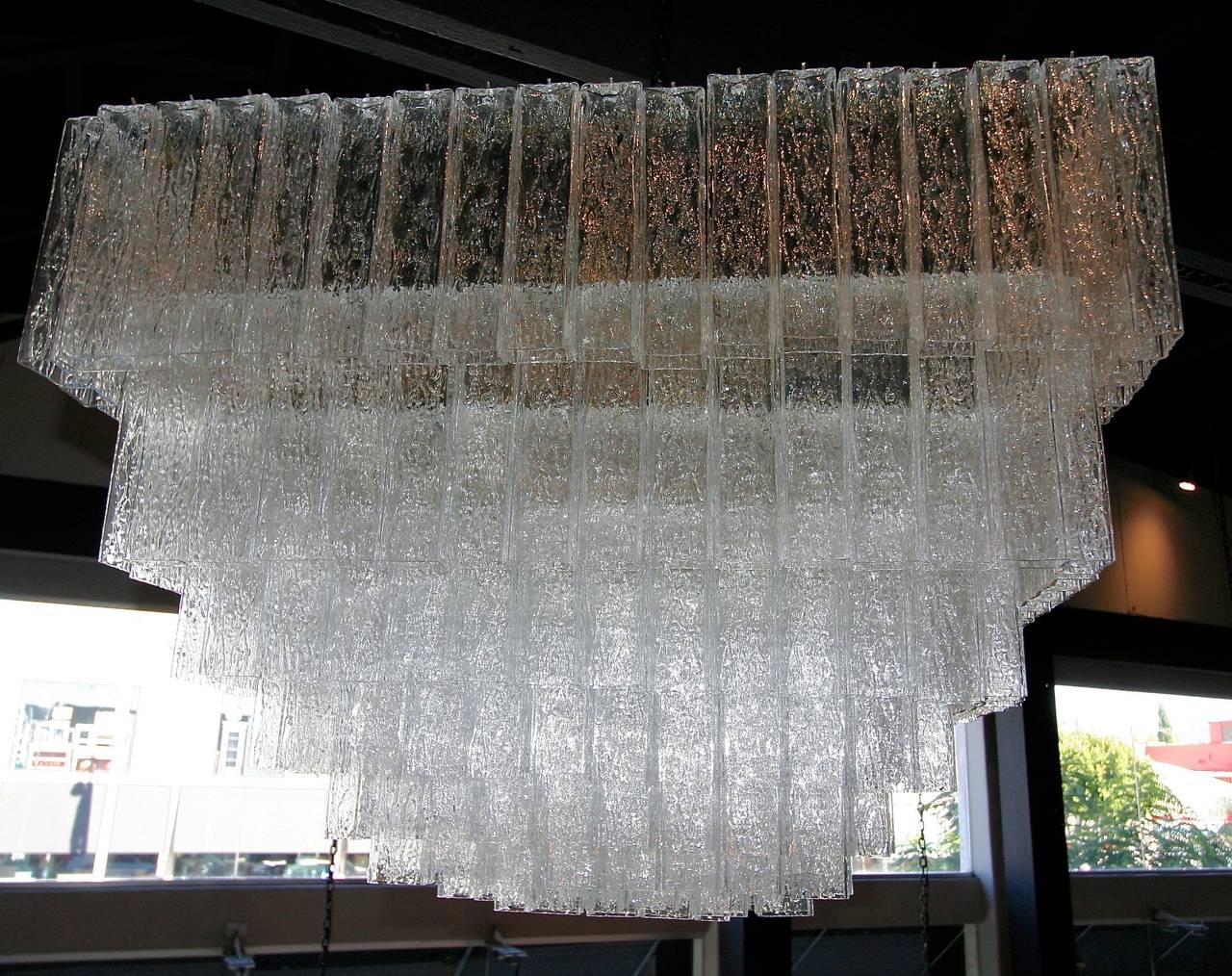 1960s Rectangular Murano Glass Vistosi Chandelier