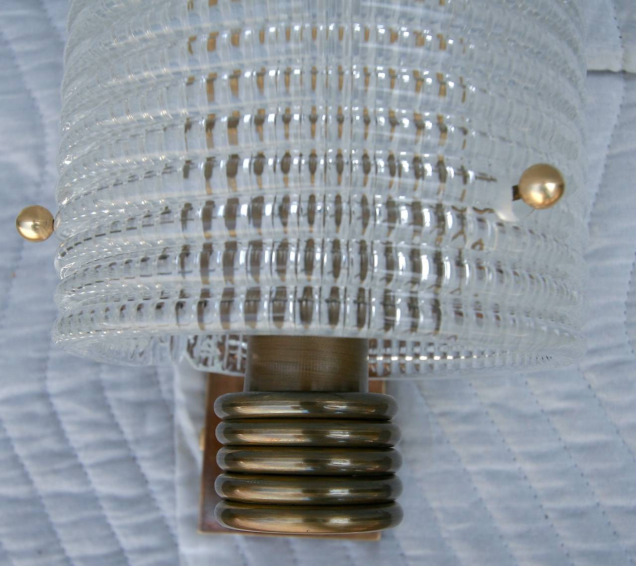Italian Pair of 1950s Brass and Murano Glass Sconces For Sale