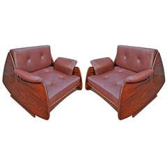 Pair of Jorge Zalszupin 1960s Brazilian Jacaranda Lounge Chairs
