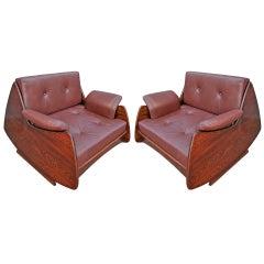 Pair of Jorge Zalszupin 1960s Brazilian Jacaranda Lounge Chairs