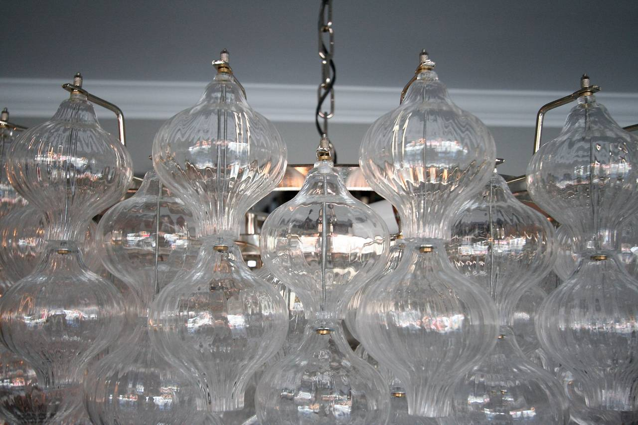 Chrome Murano Glass 1960s Tulip Chandelier For Sale