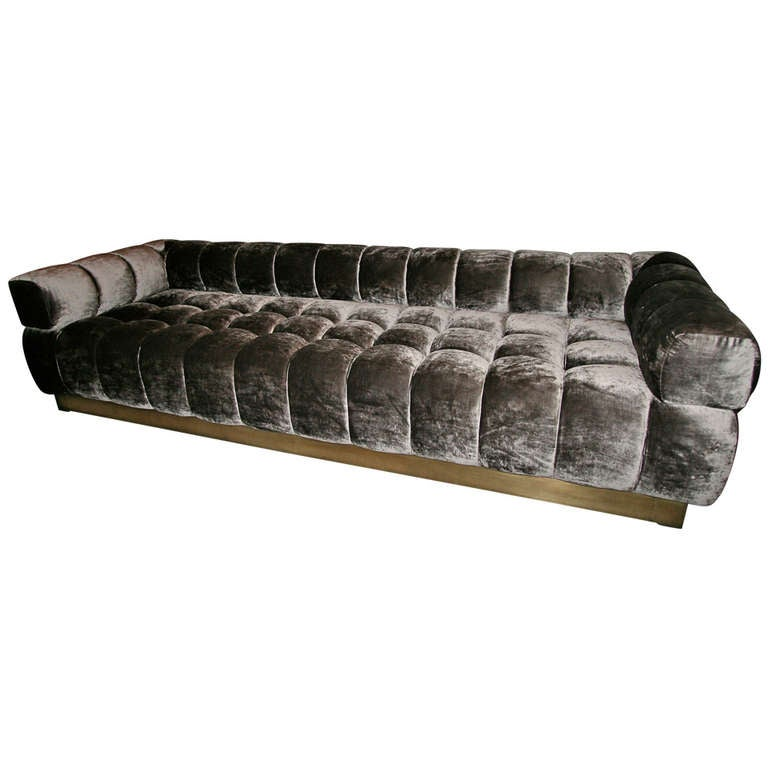 Custom Tufted Charcoal Brown Velvet Sofa with Brass Base