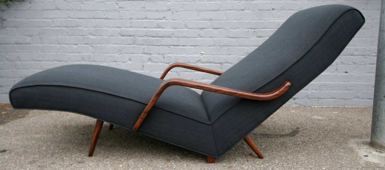Scapinelli 1960s Brazilian Rosewood Chaise Longue In Excellent Condition For Sale In Los Angeles, CA