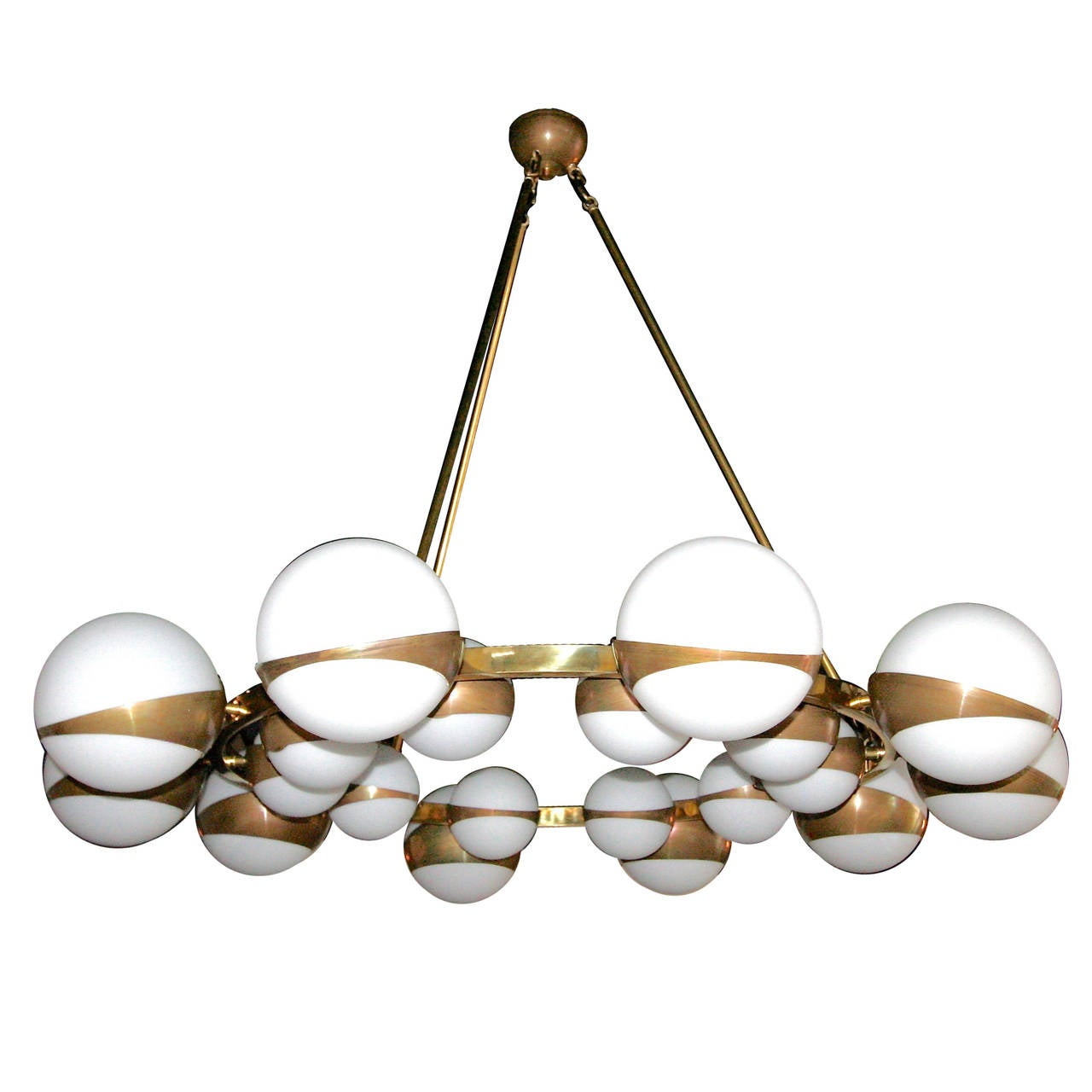 Round globe chandelier with white glass balls on brass frame for round globe chandelier with white glass balls on brass frame for sale mozeypictures Image collections