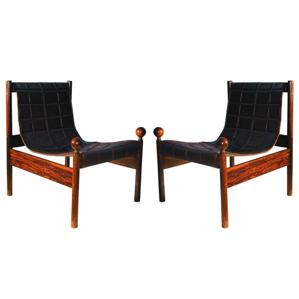 Pair of Zalszupin 1950s Brazilian Jacaranda Ouro Preto Chairs