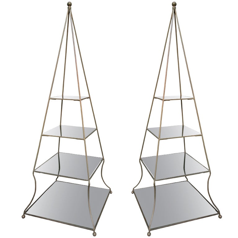 pair of 1960s metal pyramid etageres with smoked glass shelves for sale at 1stdibs. Black Bedroom Furniture Sets. Home Design Ideas