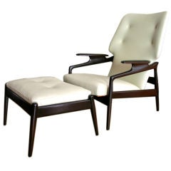 50's  Reclining Armchair with Ottoman