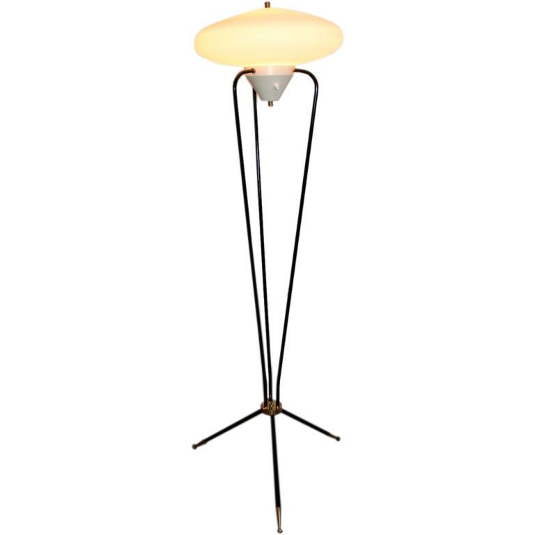 1960s Stilnovo Metal and Opaque Glass Floor Lamp
