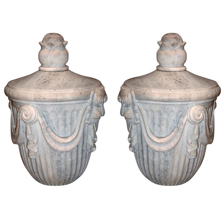 Pair Of 30 S Marble Ornaments At 1stdibs