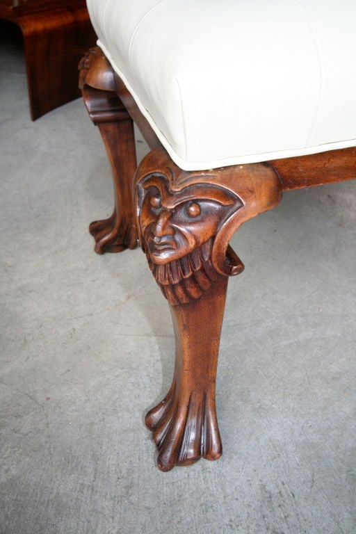 S italian carved wood tufted leather bench for sale at