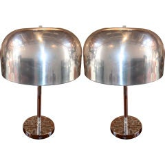 Pair of 1970s Lightolier Aluminium Table Lamps