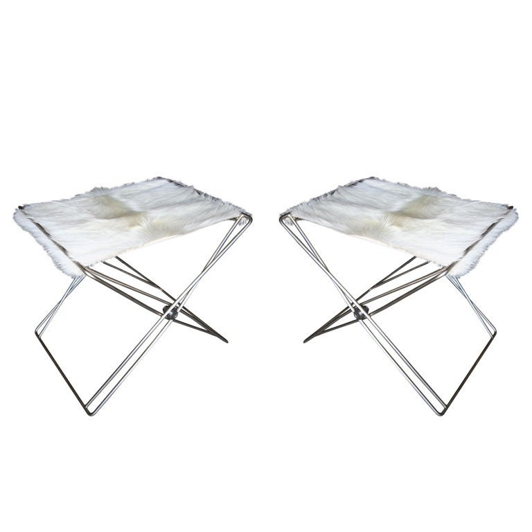 Pair of 1970s Nickel Folding Stools with Cowhide Seat