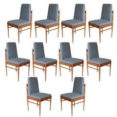 Set of Ten 1960s Brazilian Caviuna Dining Chairs by L'Atelier