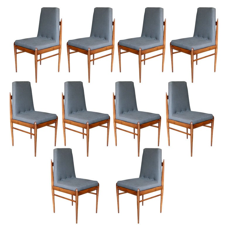 Set of Ten 1960s Brazilian Caviuna Dining Chairs by L'Atelier