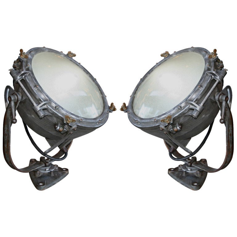 Pair of 1920s Westinghouse Flood Lights For Sale