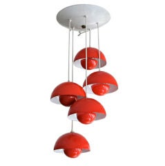 1970s Red Metal Big Flower Pot Chandelier by Verner Panton