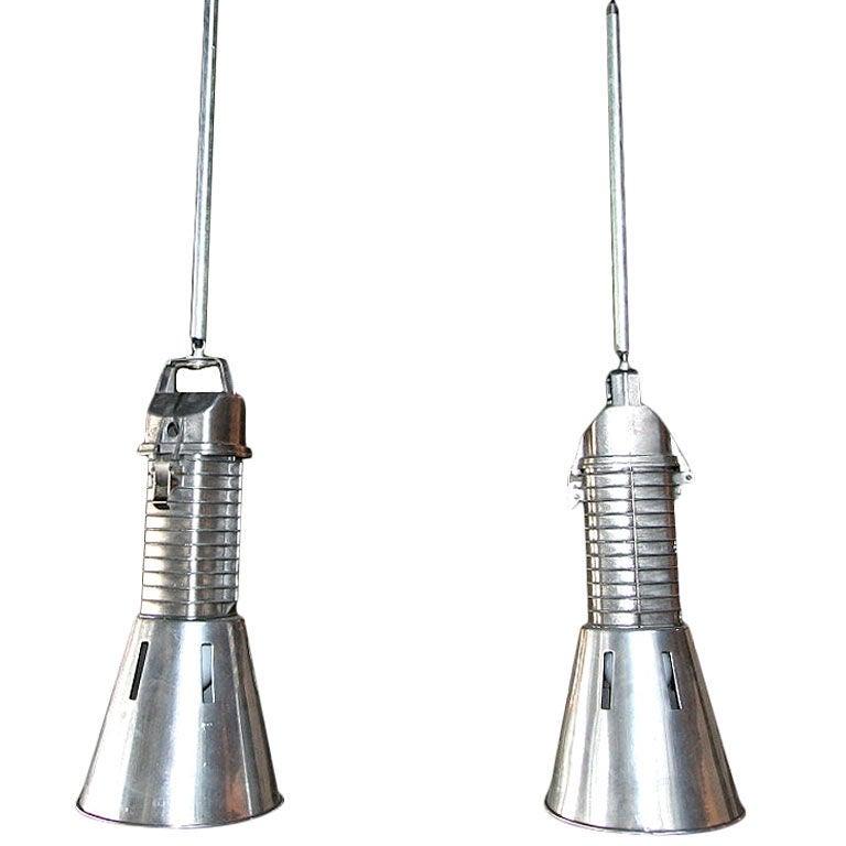 Pair Of Philips Industrial Chandeliers At 1stdibs