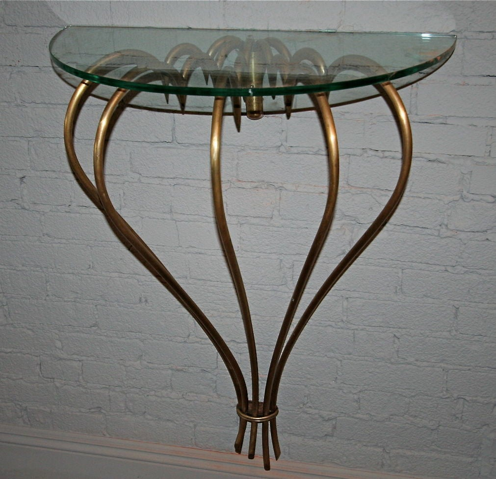 1940s French brass console with glass top