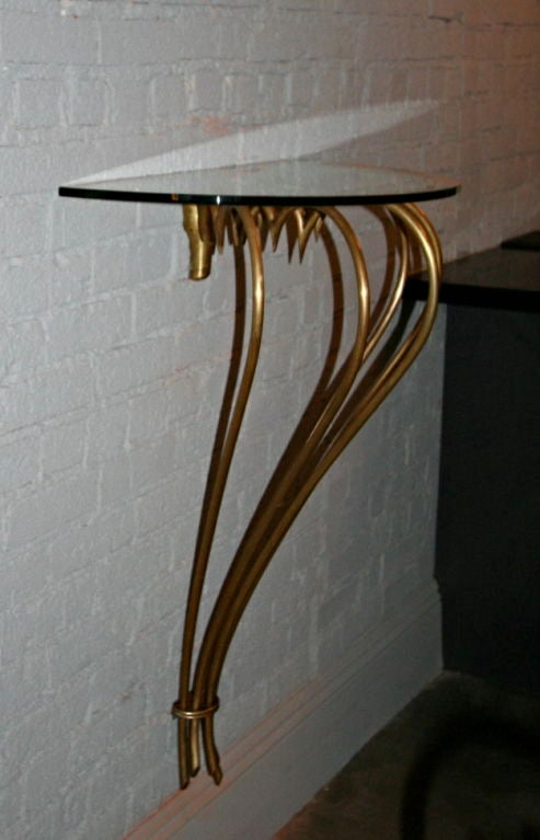 Mid-Century Modern 1940s French Brass Console with Glass Top For Sale