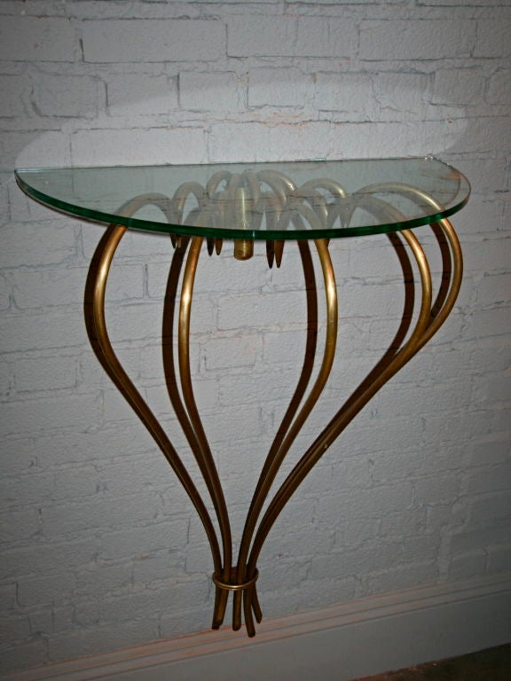 1940s French Brass Console with Glass Top In Excellent Condition For Sale In Los Angeles, CA