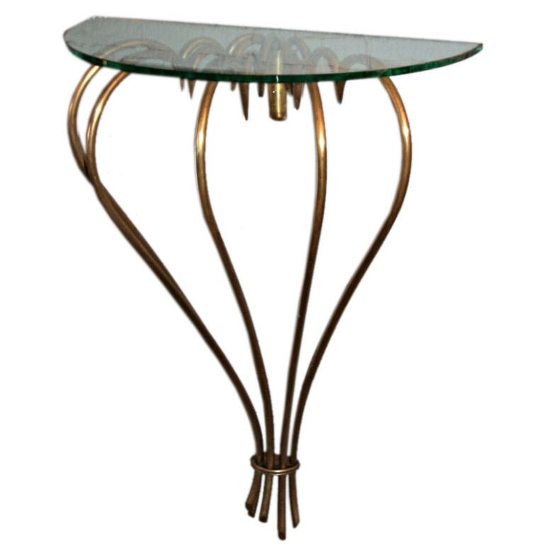 1940s French Brass Console with Glass Top For Sale