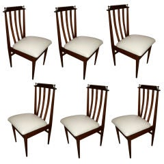 Set of Six 1960s Argentinian Dining Chairs with Chrome Details