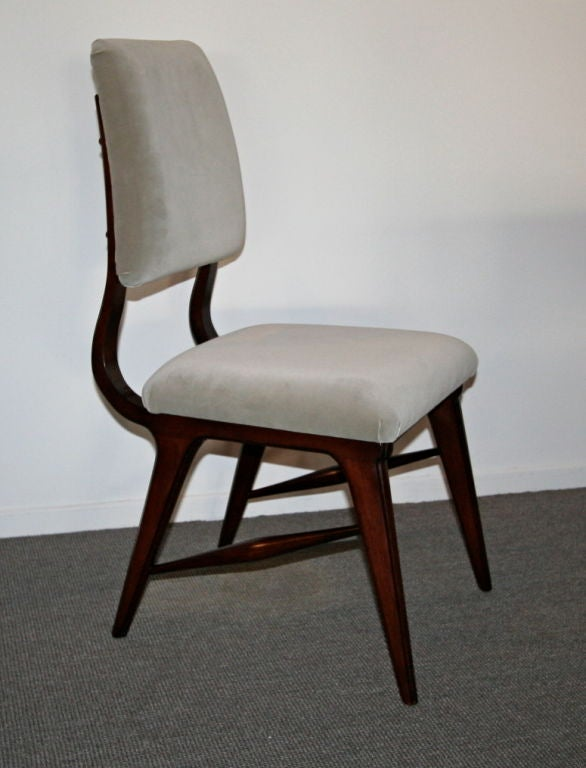 Set of Ten 1970s Brazilian Dining Chairs in Grey Velvet For Sale 4