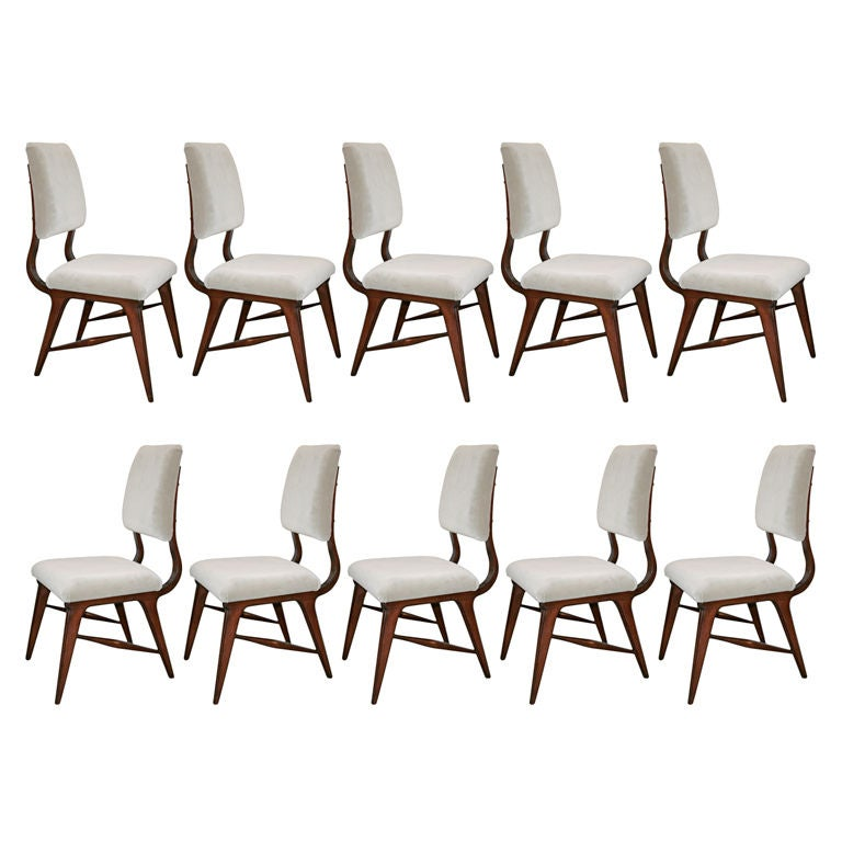 Set of Ten 1970s Brazilian Dining Chairs in Grey Velvet For Sale