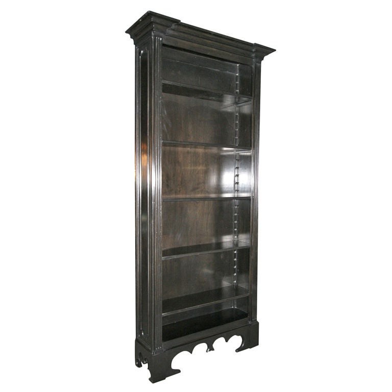 Custom Tall Ebonized Bookcase With Adjustable Shelves For