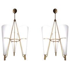 Pair of 50's Stilnovo Chandeliers