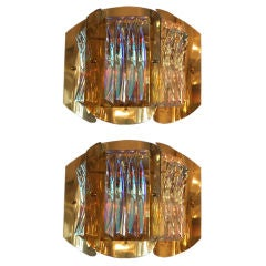 Pair of 1960s Lobmeyr Brass and Iridescent Glass Sconces