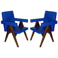 Pair of Chandigarh Committee Chairs By Pierre Jeanneret
