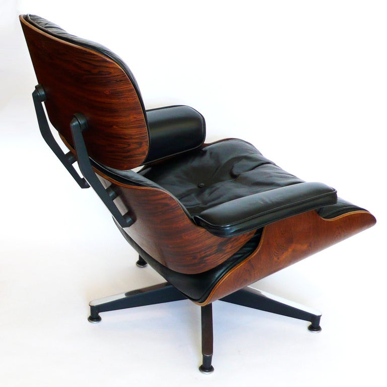 original 1965 eames 670 lounge chair and 671 ottoman black leather at 1stdibs. Black Bedroom Furniture Sets. Home Design Ideas