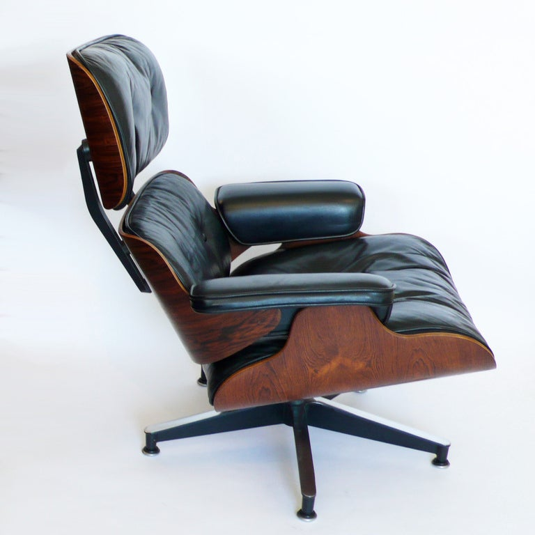 original 1965 eames 670 lounge chair and 671 ottoman black. Black Bedroom Furniture Sets. Home Design Ideas