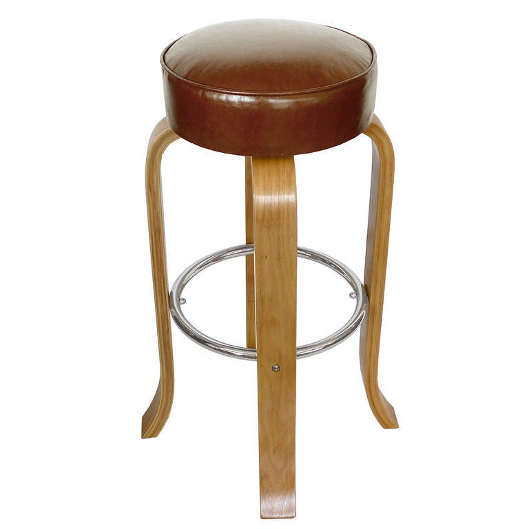 Set Of 3 1940 S Art Deco Bar Stools W Leather Seats At