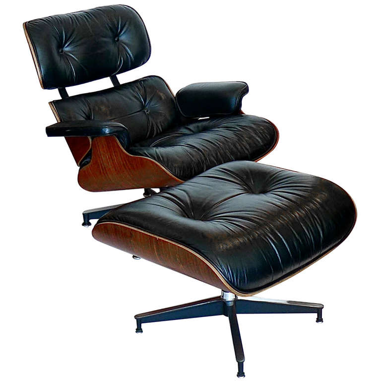 original 1978 rosewood eames 670 lounge chair and 671 ottoman black leather at 1stdibs. Black Bedroom Furniture Sets. Home Design Ideas