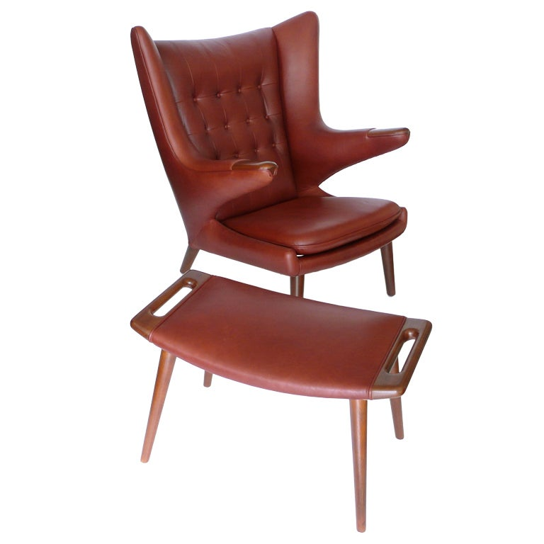 Original Papa Bear Chair And Ottoman In Cinnabar Leather