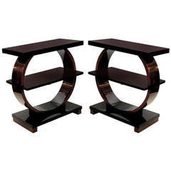 Pair Of Art Deco Side Tables In Mahogany & Black Lacquer