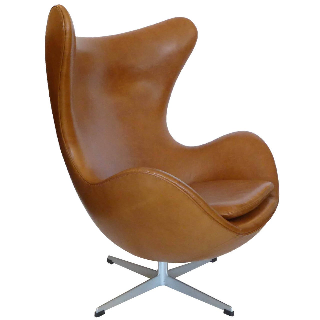 Original Carmel Tan Egg Chair And Ottoman By Arne Jacobsen