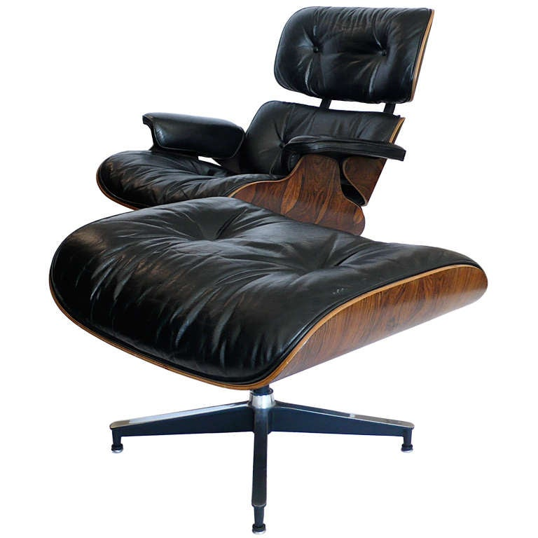 original 1970 black leather eames 670 lounge chair and 671 ottoman at 1stdibs. Black Bedroom Furniture Sets. Home Design Ideas