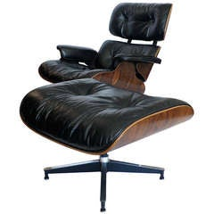 Original 1970 Black Leather  Eames 670 Lounge Chair & 671 Ottoman
