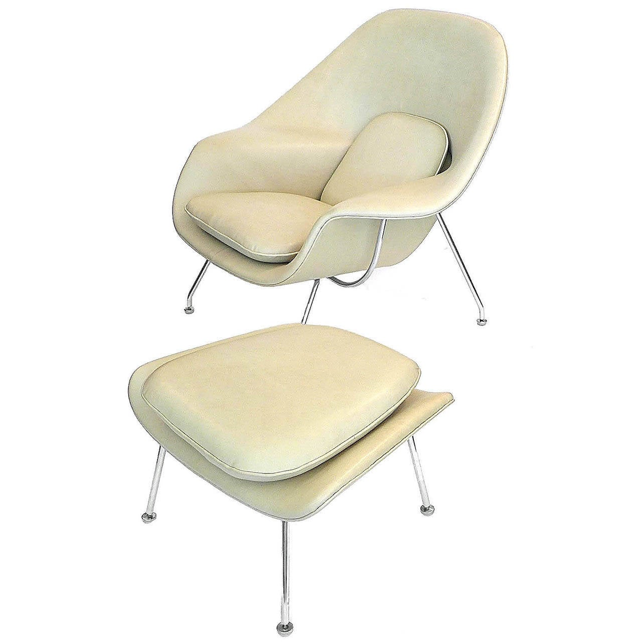 saarinen leather womb chair and ottoman knoll 1978 at 1stdibs