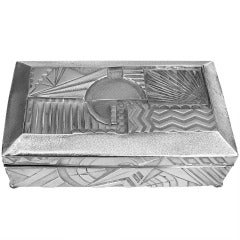 1930's Machine Age Art Deco Geometric Silver Plated Box