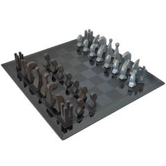 Pierre Cardin, 1969 Evolution Chess Set with Glass Board