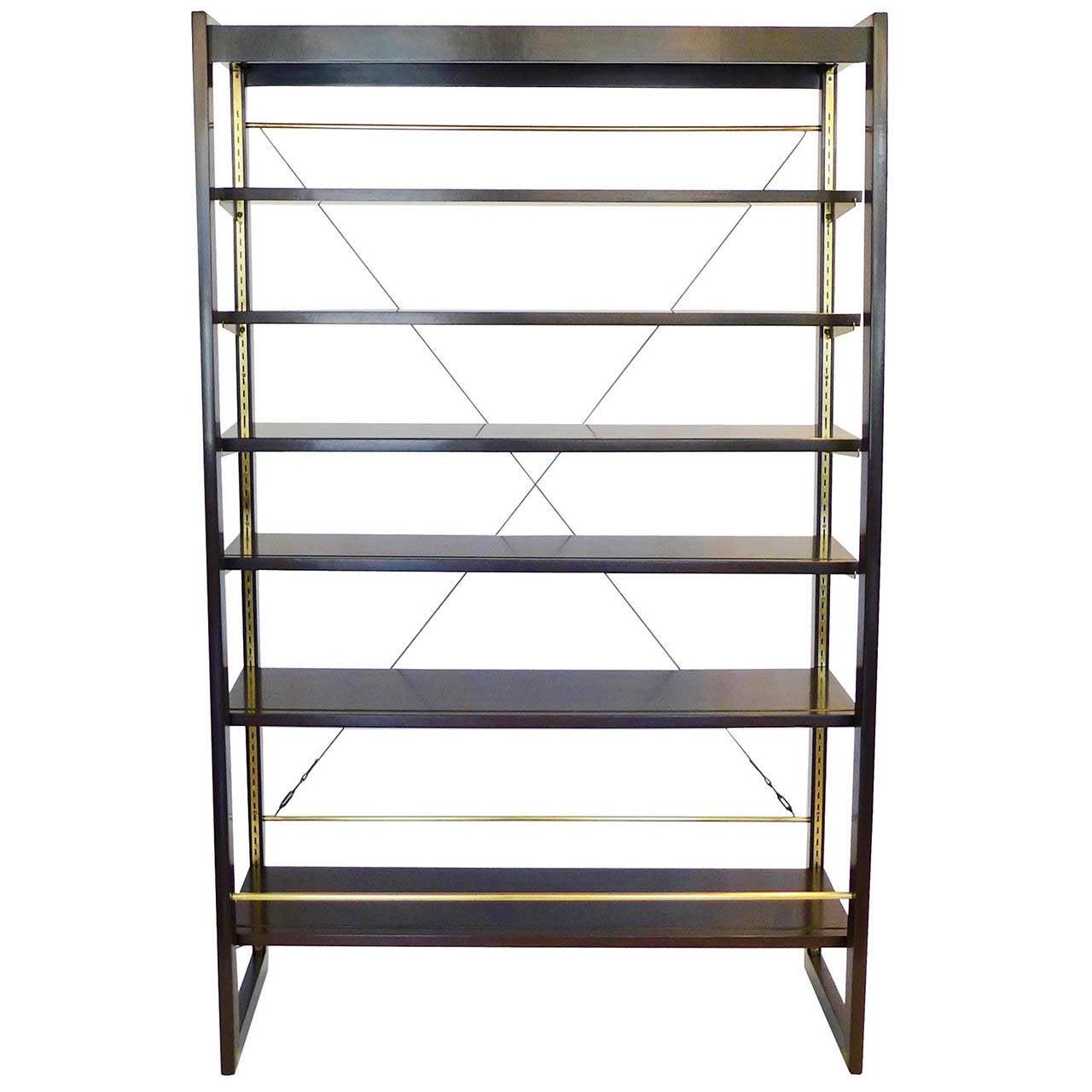 Rare Edward Wormley Open Frame Lit Shelf Room Divider for Dunbar 1
