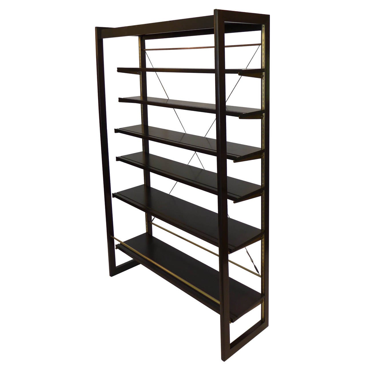 #5C4F40 Rare Edward Wormley Open Frame Lit Shelf Room Divider For  with 1280x1280 px of Recommended Open Shelves Room Dividers 12801280 save image @ avoidforclosure.info