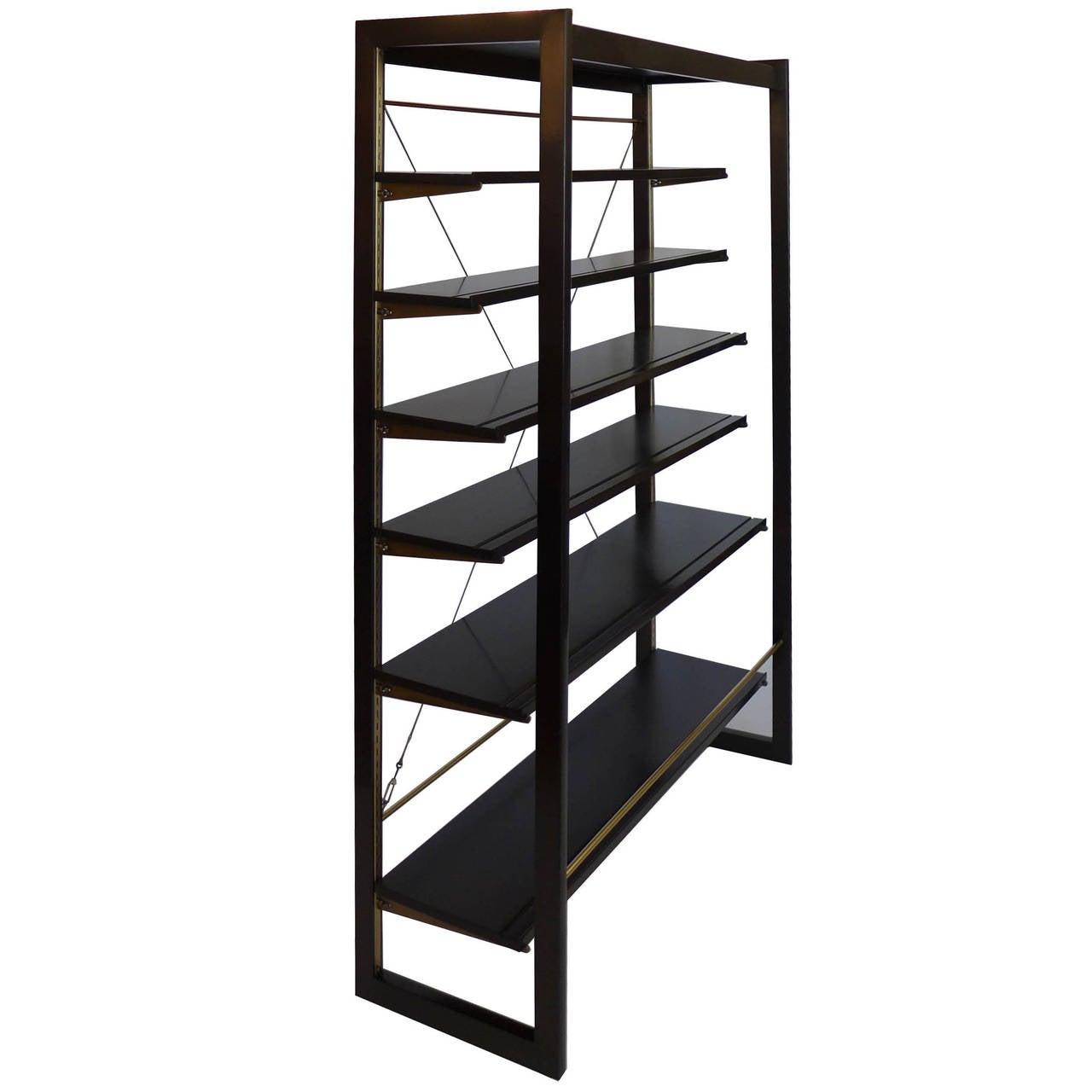 Rare Edward Wormley Open Frame Lit Shelf Room Divider for Dunbar 2