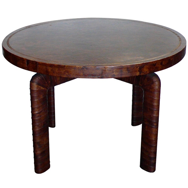 Fantastic Billy Haines Custom Tortise Leather Game Table