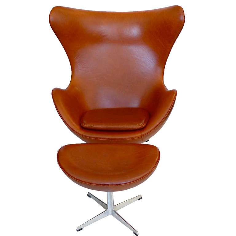 egg chair and ottoman by arne jacobsen in chestnut brown at 1stdibs