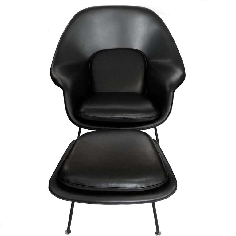 early womb chair and ottoman by saarinen for knoll in black leather at